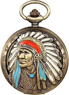 JewelryWe Montre à gousset pour homme et femme, motif abstrait classique, montre à quartz, style ethnique, avec chaîne