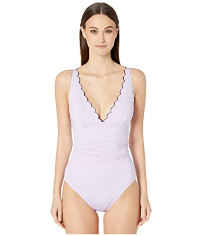 Kate Spade New York Contrast Scalloped Plunge One-Piece (Frozen Lilac) Women