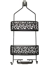 House of Quirk Bathroom Shower Caddy Shelves Hanging Flower Shower Caddy for Tall Shampoo and Conditioner Bottles (Black)