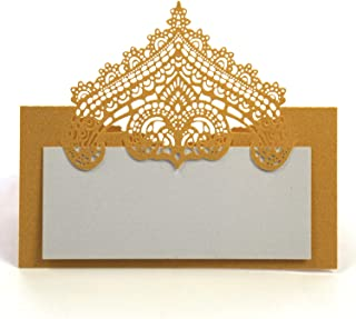 DOUKING 100 Pcs Table Place Cards with White Inserts - Crown Tent Cards Name Cards for Wedding, Banquets, Buffet, Baby Shower, Bridal Shower, Birthday Party, Meetings, Dinners (Gold)