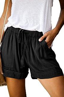 Mujeres Cordón Casual Pantalones Cortos de Cintura elástica Pantalones Cortos de Color Puro Pantalones cómodos Pantalones Cortos de Verano Ligeros con Bolsillos