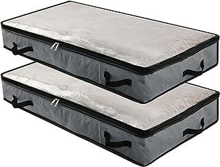 2pcs sacs de rangement pliables sous le lit avec fenêtre transparente, poignées, fermeture à glissière, couvertures, organ...