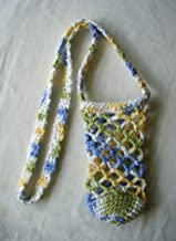 Cotton Crochet Crossbody Water Bottle Bag Blue Green Drink Carrier Holder Beverage Cozy Sling Tote