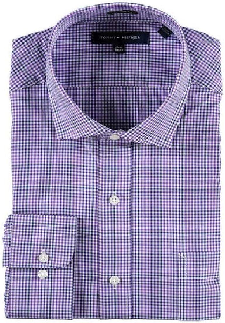 Tommy Hilfiger Gingham & Windowpane Men's Regular Fit Dress Shirt (16 32/33, Purple Check)