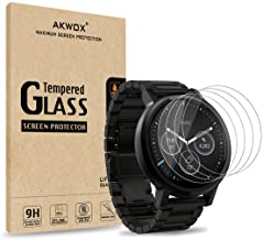 AKWOX (Pack of 4) Tempered Glass Screen Protector for Moto 360 1st and 2nd Gen 46mm Smart Watch, [0.3mm 2.5D 9H] Premium C...