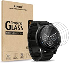 AKWOX (Pack of 4) Tempered Glass Screen Protector for Moto 360 1st and 2nd Gen 46mm Smart Watch, [0.3mm 2.5D 9H] Premium Clear Screen Protective Film for Motorola Moto 360 46mm