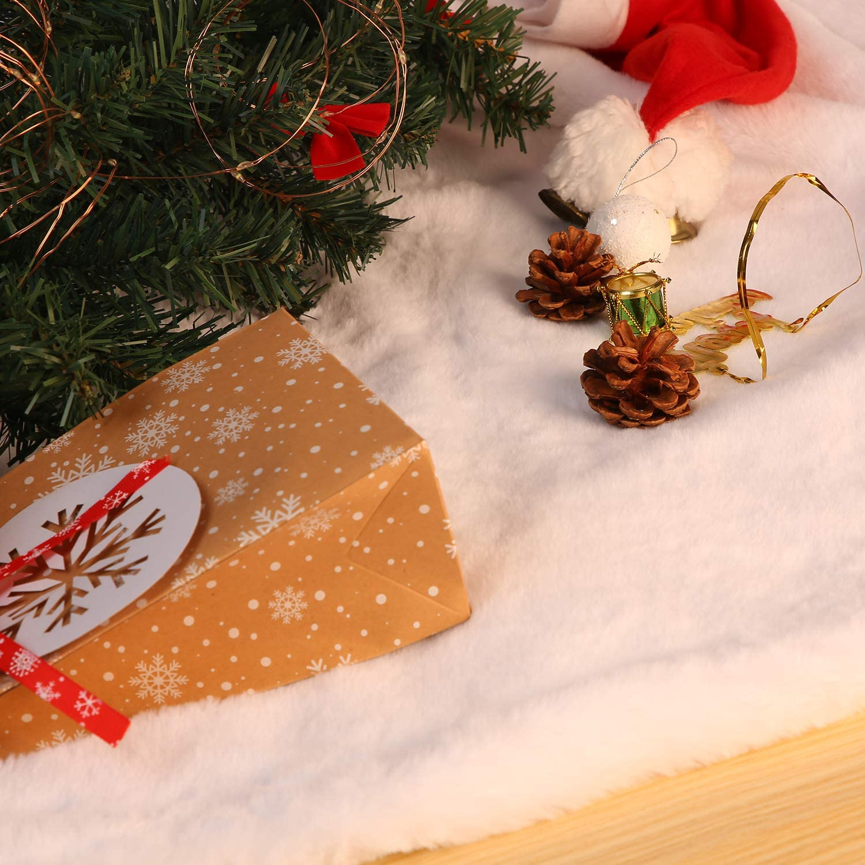 Herefun Gonne per Alberi di Natale Alberi di Natale Copertura della Base Bianco Peluche Gonne per Alberi Decorazione Natalizia per Feste Forniture in Casa 120cm-1