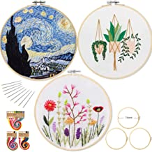 3 Sets Embroidery Beginner Kit with Pattern and Instructions, Cross Stitch Kit Include 3 Embroidery Clothes(Flowers, Green Plants, Starry Night), 3 Plastic Embroidery Hoops, Color Threads and Tools