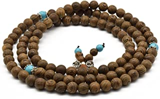Zen Dear Unisex Natural Wenge Mala Prayer Beads Necklace Bracelet Meditation Buddhist Rosary Mala Beads