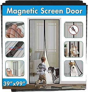 Magnetic Screen Door Cover IKSTAR Double Mesh Curtain with Full Frame Hook&Loop Instant Mesh Door for Front Door and Home Outside Kids/Pets Walk Through Easily Fit Door Size Up to 36