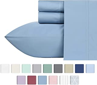 600-Thread-Count California King Size Sheet Set - 100% Cotton Deep Pocket Bedsheets - Dusty Blue Sheets with Long Staple Premium Cotton Yarns, Sateen Weave Bedding Set