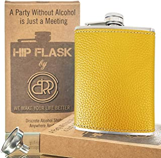 Hip Flask with Funnel, Liquor Flask - 8 Oz, Fits Any Suit, Wrapped PU Leather Leak Proof 18/8 Stainless Steel, Pocket Hip ...