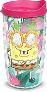 Tervis 1333893 Nickelodeon SpongeBob SquarePants Tropical Insulated Tumbler with Wrap and Fuchsia Lid, 10 oz, Clear