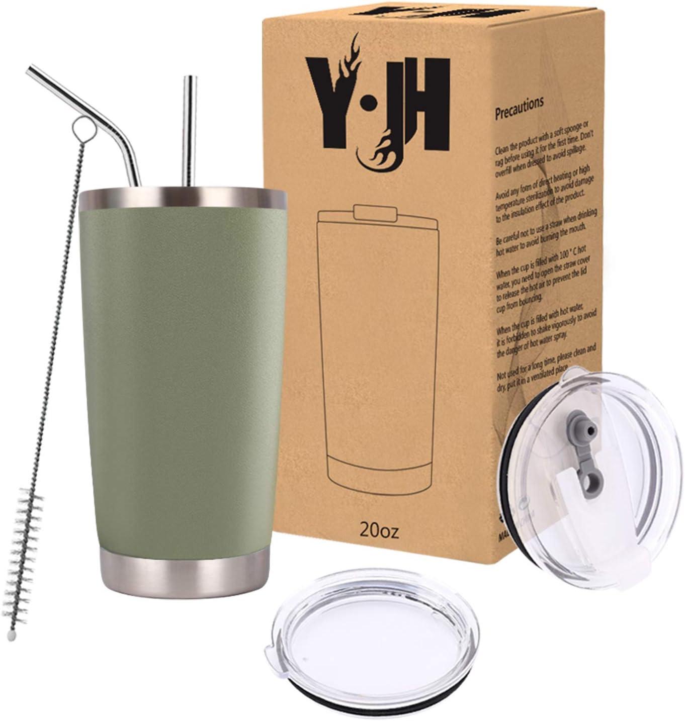 Y·JH 20oz (550ml) Vaso de Viaje de Taza de café con Aislamiento al vacío de Doble Pared Taza de café de Acero Inoxidable con 2 Tapas a Prueba de Salpicaduras, 2 pajitas, sin BPA - Ejercito Verde