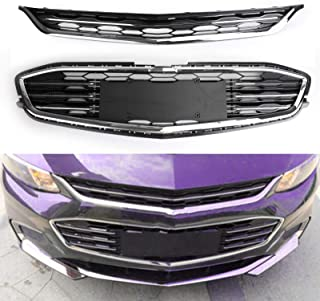 Areyourshop Mesh Chrome Front Bumper Upper & Lower Grille for Chevy Malibu 16-2017