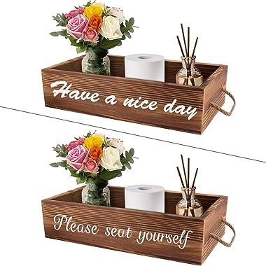 Soulcker Bathroom Decor Box, 2 Sides Funny Toilet Paper Box, Rustic Wooden Farmhouse Bathroom Box, Diaper Organizer, Funny Ho