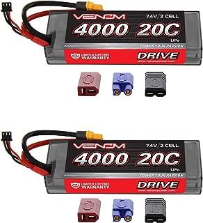 Venom 20C 2S 4000mAh 7.4 Hardcase LiPO Battery with UNI Plug (2-Pack)