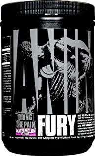Animal Fury - Pre Workout Powder Supplement for Energy and Focus - 5g BCAA, 350mg Caffeine, Nitric Oxide, Without Creatine...