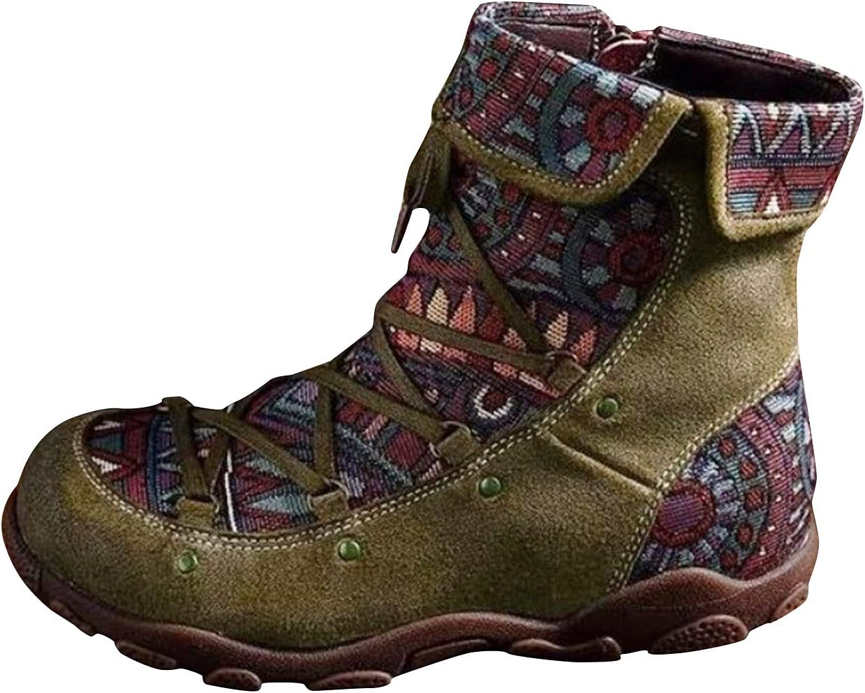 Women's Ankle Bootie Winter Lace up Mid Calf Military Combat Boo