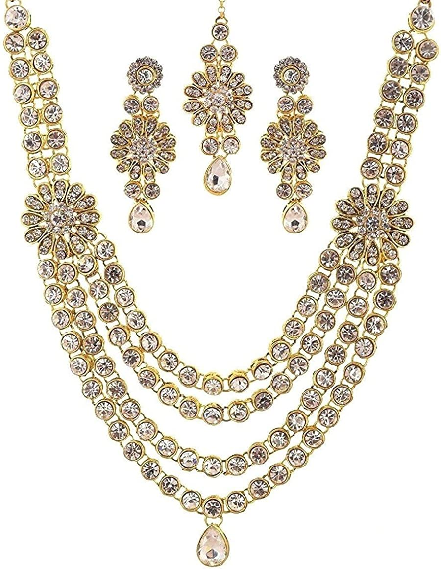 Crunchy Fashion Royal Bling Bollywood Style Traditional Indian Jewelry Faux Kundan Look Crystal Wedding Necklace Earrings Tikka Jewelry Set for Women