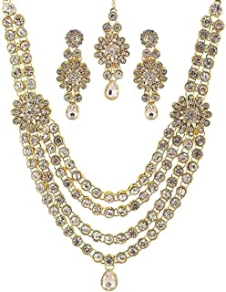 Crunchy Fashion Royal Bling Bollywood Style Traditional Indian Jewelry Faux Kundan Wedding Necklace Earrings Tikka Jewelry Set for Women