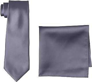 [ピーエスエフエー] フォーマル ネクタイ ポケットチーフ セット 無地 結婚式 シルバー 洗える ビジネス M181180034 メンズ