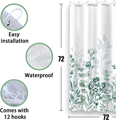 Zussun Green Plants Shower Curtain Set, Bathroom Fabric Fall Art Shower Curtains Waterproof Home Decor Bathroom Accessory Sets with 72inx72in Standard Size