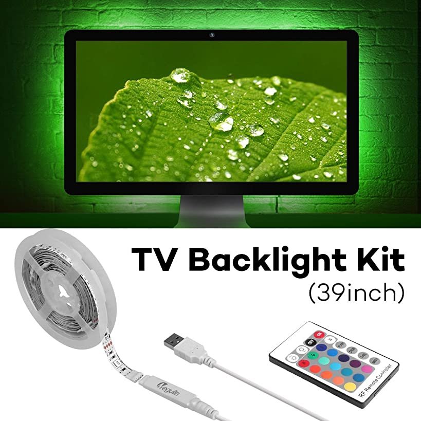 USB Powered LED Light Strip, Megulla (39in/1m) RGB Bias Lighting for HDTV with RF Remote Control, TV Backlight Kit for Flat Screen TV, PC - Reduce Eye Fatigue and Increase Image Clarity - Fits 10-32in