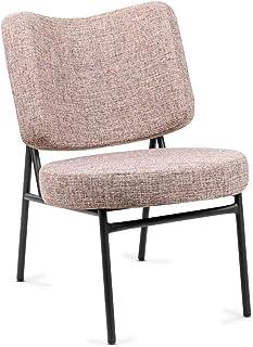 Mc Haus OSHA - Sillón Comedor de color Beige, Butaca Salón Tapizado en tela, Asiento Acolchado cómodo y patas de metal color Negro 62,5x56x81cm