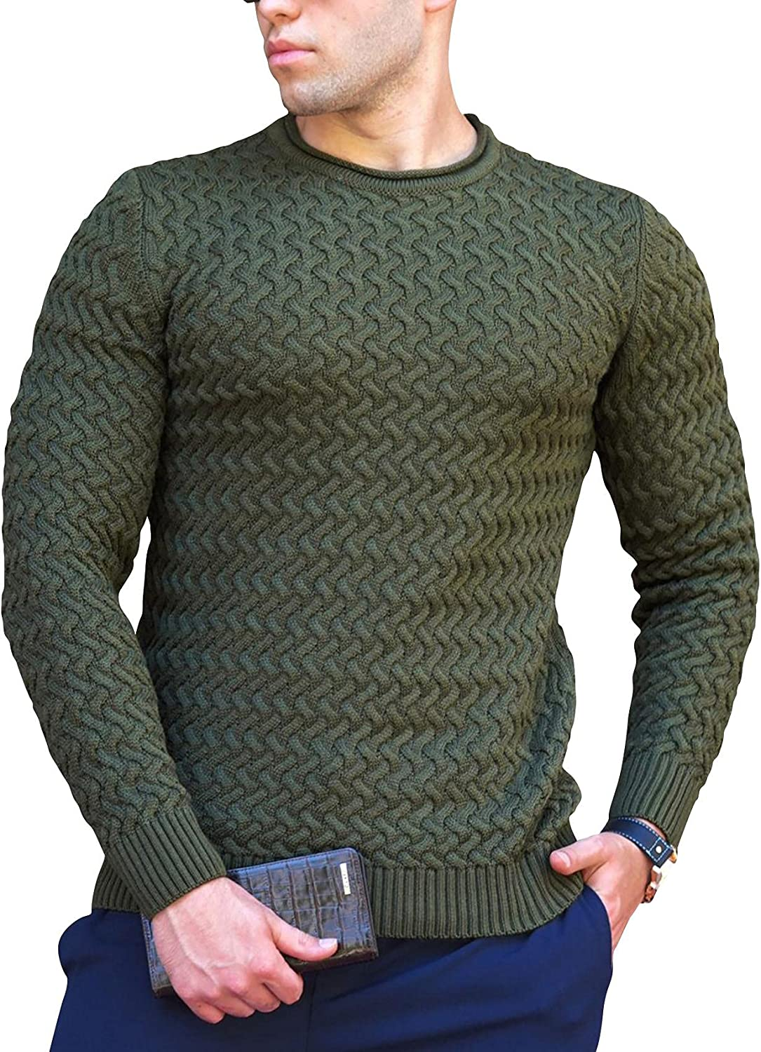Men's Crewneck Sweater Long Sleeve Cable Twisted Knitted Slim Fit Pullover Sweaters