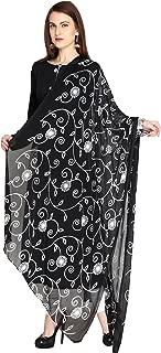 Woman's Embroidered Chiffon Chunni,Dupatta, Stole with Lace Border