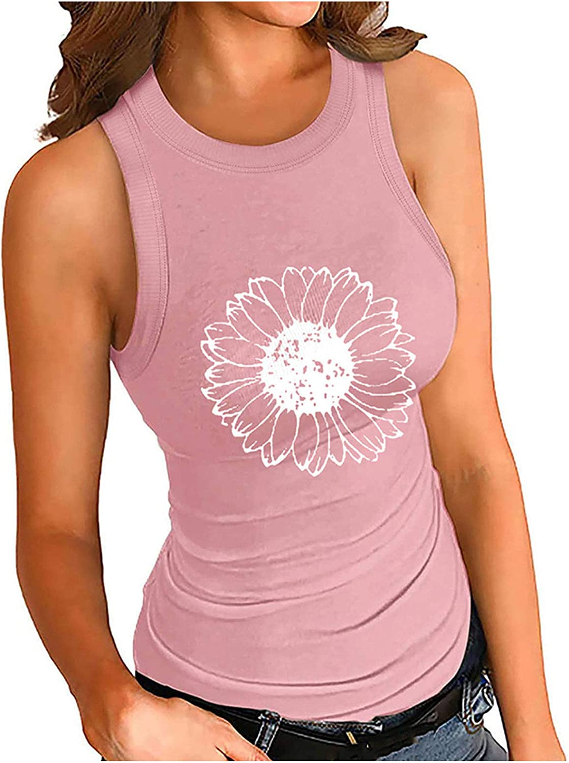 Forwelly Sunflower Graphic T Shirt for Women Summer Casual Sleeveless Tank Top Sport Yoga Vest Blouse