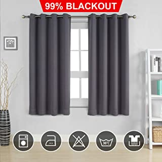 Moonen 99% Blackout Curtain for Bedroom Thermal Insulated Noise Proof Microfiber Heavy Silky Textured Darkening Grommet Top Drapes (2 Panels Set, Grey, 52x63 Inches)