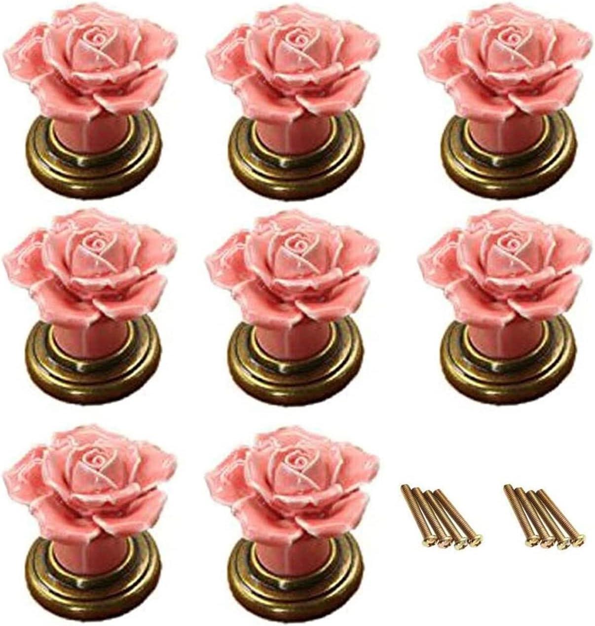 Drawer Dresser Knobs Pull Handles Pink Ceramic Rose Flower specialty shop Daily bargain sale 8Pcs