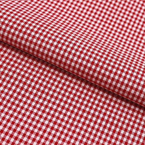 Hans-Textil-Shop Stoff Meterware Vichy Karo 2x2 mm Rot Baumwolle - Für Landhaus, Deko, Nähen oder Basteln, Kariert mit Karomuster