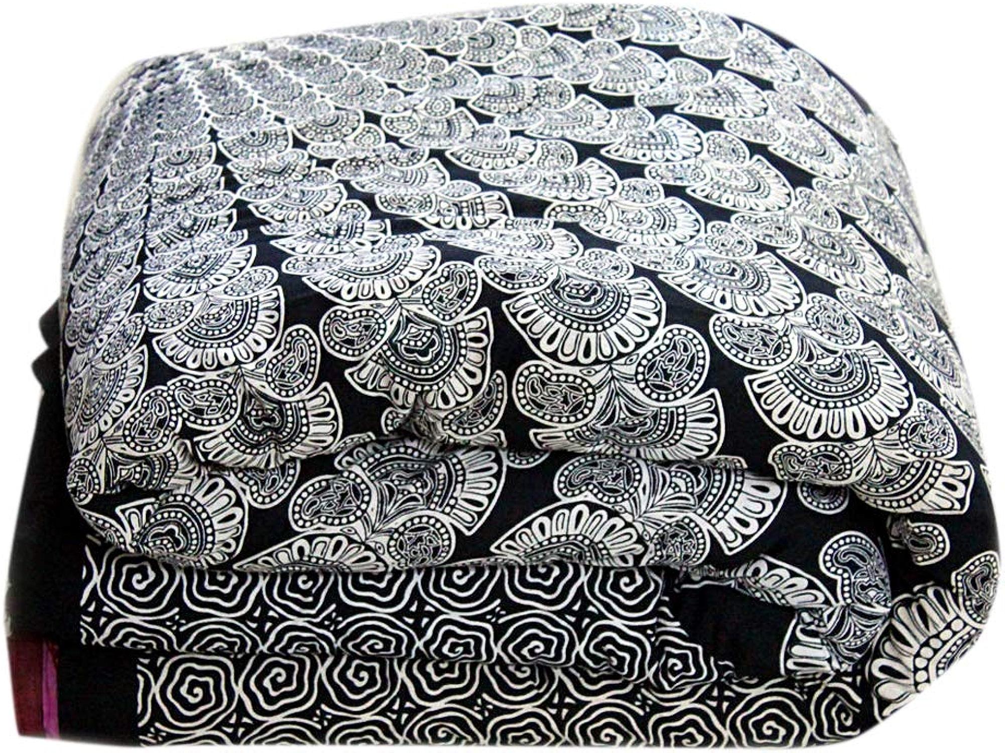 Marusthali noir et blanc couverture de couette psychédélique de douillette de couverture de couette de lit simple jeter la couverture de couette indienne et taie d'oreiller lit de jet de Bohème dans un ensemble de sac avec la feuille de lit