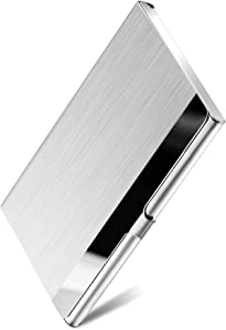 MaxGear Metal Business Card Holder for Men & Women, Pocket Business Card Case Slim Business Card Wallet Business Card Holders Name Card Holder, 3.7 x 2.3 x 0.3 inches, Stainless Steel, Silver Mirror