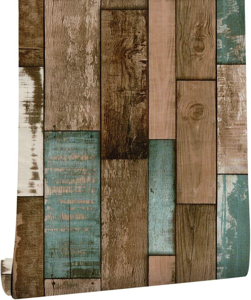Amazon Haokhome アンティーク調 木目 ストライプ3d 壁紙シール のり付き 剥がせる ブラウン簡単 キッチン リビングルームの装飾45cmx3m Diy 工具 ガーデン
