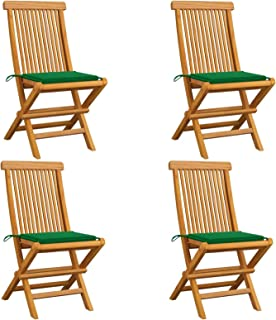 Tidyard Sillas de Jardín 4 uds con Cojines Sillas de Exterior Plegables Sillón de Relax para Jardín Verde Madera de Teca 47 x 60 x 89 cm