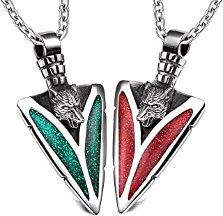 Arrowhead Howling Wolf Love Couples or BFF Set Protection Amulets Sparkling Royal Green Red Necklaces