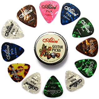 Alice 12pcs Celluloid Guitar Picks for Acoustic Electric Guitar Colorful 0.46mm/0.71mm/0.81mm Plectrums in 1 Round Metal Picks Box