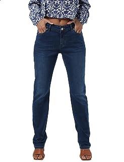 Premoda Whiskered Side Pocket Straight Fit Jeans For Women