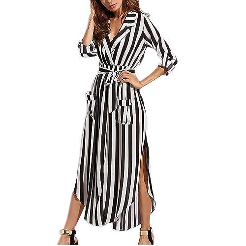 3793d6a7901 Amoretu Womens Casual V-Neck Cuff Sleeve Front Slit Striped Long Maxi Dress