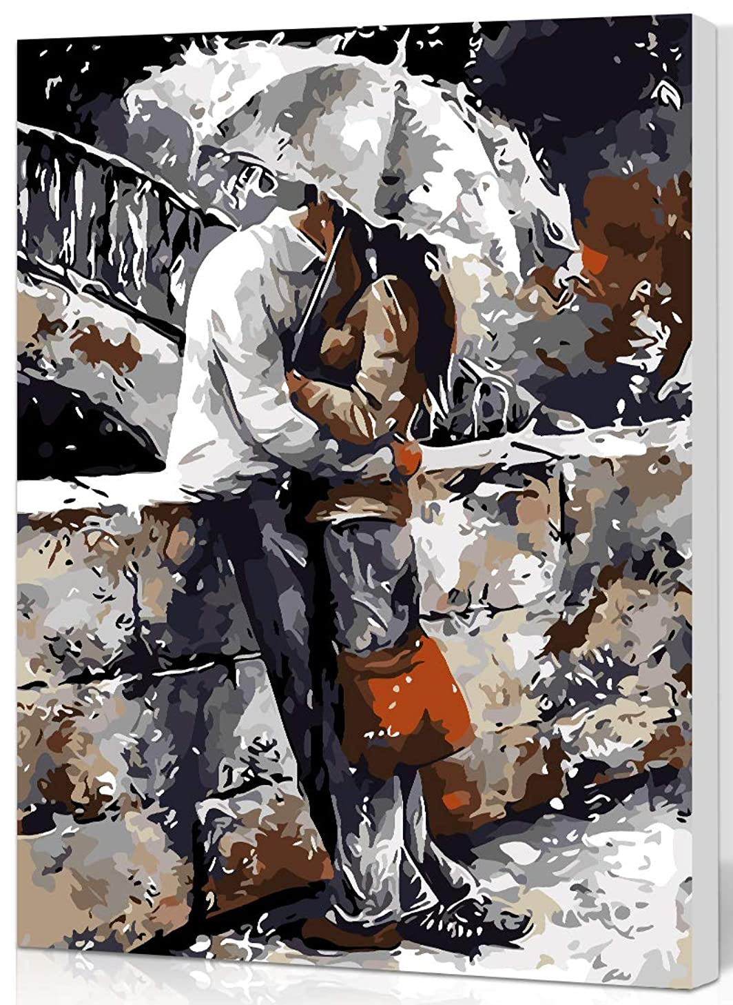 SHUAXIN DIY Oil Painting Paint by Number Kits DIY Canvas Painting by Numbers Acrylic Oil Painting for Adults Kids Rain Romantic Kiss 16x20 inch Wooden Framed