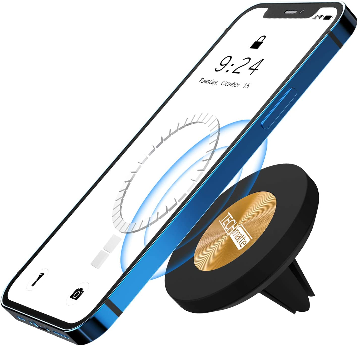 TechMatte MagGrip Magnetic Vent Car Phone Mount Compatible with iPhone 13, iPhone 12, Pro, Pro Max, Mini and MagSafe Case (Gold)