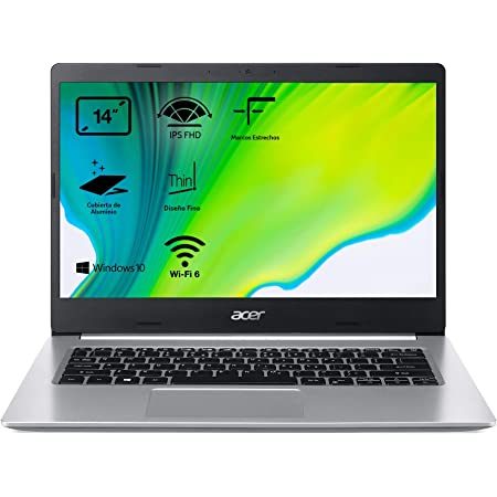 "Acer Aspire 5 A514-52 - Ordenador Portátil 14"" FullHD (Intel Core i7-10510U, 8GB RAM, 512GB SSD, Intel HD Graphics, Windows 10 Home), Color Plata - Teclado Qwerty Español"