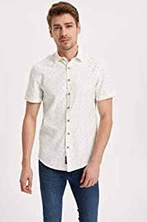 DeFacto Desenli Slim Fit Kısa Kollu Gömlek