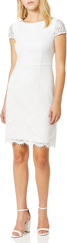 Dress the Population Women's Plunging Mix Media Cap Sleeve A-LINE MIDI Dress, Off White-Corey, XXS