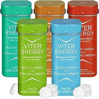 Viter Energy Caffeinated Mints - 5 Flavor Variety Pack. 40mg Caffeine, B Vitamins, Sugar Free Vegan Breath Mint. Powerful ...