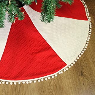 yosager 48 Inch Christmas Knit Tree Skirt Red and White Tree Mat with Pom Pom Trim, Double Layers Christmas Tree Decoration